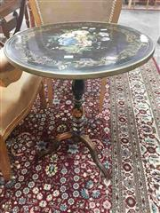 Sale 8917 - Lot 1018 - Victorian Ebonised & Painted Tilt-Top Wine Table, with floral bouquet & gilt scroll border, on turned pedestal & outswept feet