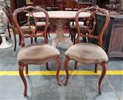 Sale 8939 - Lot 1098 - Set of Six Victorian Carved Walnut Chairs, with interlaced balloon backs, fawn velvet seats & cabriole legs. H: 92, W: 45, D: 54cm