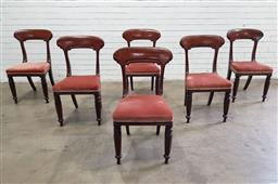 Sale 9126 - Lot 1075 - Set of Six William IV / Early Victorian Mahogany Dining Chairs, with carved rail backs, pink velvet seats, raised on turned & facete...