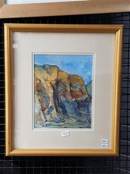 Sale 9127 - Lot 2051 - Nancy Rew  The Gorge, watercolour and gouache, frame: 45 x 40 cm, signed lower right