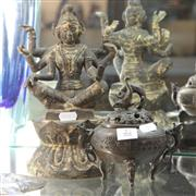 Sale 8362 - Lot 22 - Metal Figure of Vasudhara with a 3-Footed Censer