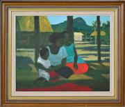 Sale 8401 - Lot 564 - Ray Crooke (1922 - 2015) - Village Scene 39 x 49cm