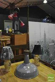 Sale 8398 - Lot 1032 - Industrial Enamel Shade Light Fitting