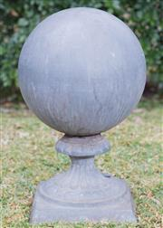Sale 8422A - Lot 47 - A lead ball form finial, height 52cm
