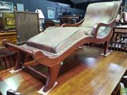 Sale 8570 - Lot 1038 - Modern Teak Chaise (damaged upholstery) (190cm)