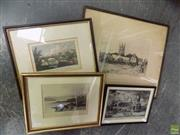 Sale 8582 - Lot 2077 - Collection of (4) assorted prints including hand-coloured lithographs and signed print by Frank Short, each framed, various sizes