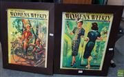 Sale 8600 - Lot 2064 - 2 Womans Weekly 1939-1940 Framed Posters