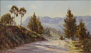 Sale 8642 - Lot 599 - Allan Fizzell (1944 - ) - Sunlit Road to Upper Kangaroo River, Kangaroo Valley, 1976 29 x 49cm