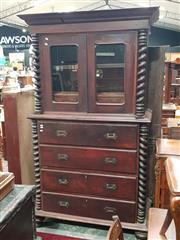 Sale 8939 - Lot 1084 - 19th Century Anglo-Indian Rosewood Campaign Style Bookcase, the top with two glass panel doors and two internal drawers, the lower c...