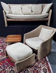 Sale 8971 - Lot 1049 - A Wintons Four Piece Teak and Woven Beige Upholstered Patio Setting incl. sofa, single armchair, footstool and drinks table (Sofa -...