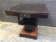 Sale 9031 - Lot 1051 - Oriental Art Deco Elm Centre or Games Table, the square removable top fitted with a drawer to each side carved with flowers, resting...