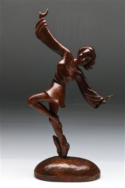 Sale 9144 - Lot 77 - A Carved timber dancing lady H: 46cm