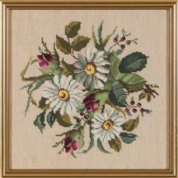 Sale 9155H - Lot 87 - A framed tapestry dipicting daisys. Frame size 41.5x41.5cm