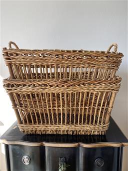 Sale 9200P - Lot 64 - A pair of vintage French open weave baskets, each Height 33cm x Width 58cm x Depth 44cm