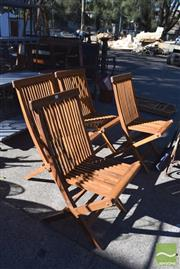Sale 8390 - Lot 1339 - Set of 4 Timber Folding Outdoor Chairs