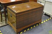 Sale 8398 - Lot 1014 - Large Timber Lift Top Fitted Travelling Trunk