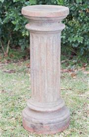 Sale 8422A - Lot 49 - A classic form hollow terracotta plinth, height 74cm