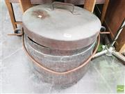 Sale 8428 - Lot 1044 - Huge French copper cauldron with lid