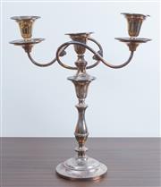 Sale 8486A - Lot 23 - A silver plate twin branch candelabrum with detachable sconces, H 38cm