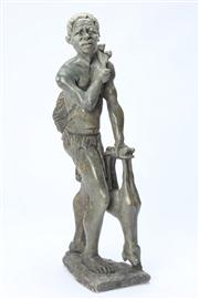 Sale 8667 - Lot 34 - A Stone carving of a hunter with beast height 40cm