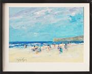 Sale 8807 - Lot 2022 - Donald Fraser (1929 - 2009) - Beach Scene 22 x 29 cm