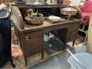 Sale 8876 - Lot 1096 - Oak Twin Pedestal Roll Top Desk