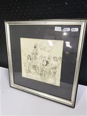 Sale 8958 - Lot 2058 - Norman Lindsay Untited (Court and Courtiers) monophotolithograph, 37 x 37cm (frame).