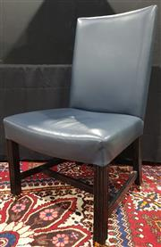 Sale 8971 - Lot 1012 - A Blue Leather Upholstered Library Chair in the Georgian taste with black painted legs and castors (H:102 x W:60 x D:60cm)