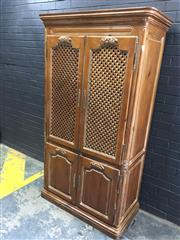 Sale 9006 - Lot 1009 - French Style Timber Entertainment Unit with Four Doors (H:193.5 x W:108 x D:55cm)