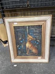 Sale 9061 - Lot 2051 - Yvonne Francart, Gus, the Theatre Cat, oil on board, 40 x 35 cm, signed lower right