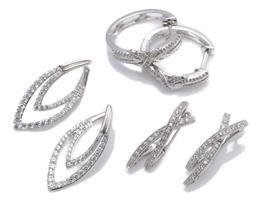 Sale 9213 - Lot 394 - THREE PAIRS OF SILVER ZIRCONIA EARRINGS; round and baguette cut stone set hoop earrings, size 23 x 6mm, X shape earrings, size 25 x...