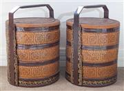 Sale 8800 - Lot 70 - A pair of antique Chinese basket weave picnic carriers, with three stacks each, H 64 x D 48cm