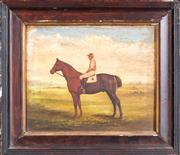 Sale 8342A - Lot 15 - Artist Unknown - early C20th School - Portrait of a Mounted Jockey 20 x 24cm