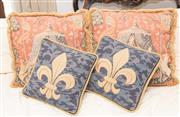 Sale 8341A - Lot 69 - Four cushions depicting fleur de lis and a medieval maiden with lion and unicorn, larger 45 x 45cm, by Adorabella, Sydney