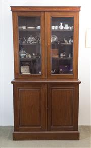 Sale 8440A - Lot 1 - A C19th mahogany bookcase with glazed panel doors above a cupboard base with shelved interior, H 204 x W 105 x D 43cm