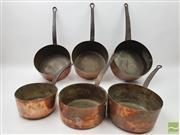 Sale 8460 - Lot 1050 - Early Set of Six Copper Saucepans (Largest H 13cm x D 25cm, Smallest H 9cm x D 19cm)