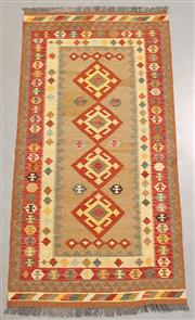 Sale 8438K - Lot 34 - Summer Afghan Tribal Kilim Rug | 205x103cm, Pure Wool, Finely handwoven in Northern Afghanistan using high quality local wool. Vibra...