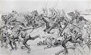 Sale 8675A - Lot 5063 - William Henry Pike RA RSA (1846 - 1908) - Charge Of The Japanese Infantry, Russo Japanese War, 1904 21.5 x 33cm