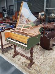 Sale 8792 - Lot 1061 - A modern harpsichord, signed Selwyn Owen, fecit 1979 in a dark green painted hood case, the hinged top painted with a Venetian style...