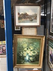 Sale 8836 - Lot 2072 - 2 Works: Nancy Lee - Still LIfe Daisies, oil on board, SLR with a E. Roesler Franz Print of Rome