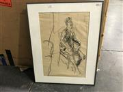Sale 8981 - Lot 2007 - Artist Unknown Seated Nude and Interior charcoal on paper, 56 x 46cm (frame) initialled M.H lower right
