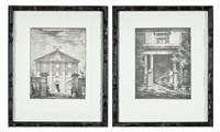 Sale 9090H - Lot 13 - A pair of monochrome architectural engravings of Hyde Park Barracks & The Burdekin House, Macquarie St Sydney, Frame size 53cm x 43cm