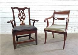 Sale 9142 - Lot 1056 - Two Georgian Armchairs, one Regency mahogany with scrolled arms, green velvet seat & sabre legs, the other country Chippendale style...