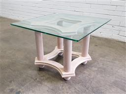 Sale 9154 - Lot 1043 - Glass top occasional table on fluted base (h:58 x w:80 x d:80cm)