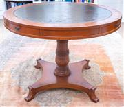 Sale 8800 - Lot 71 - A William IV style pedestal table, with four drawers tooled leather top, and additional perspex top, D 100cm, total diameter 130cm,...