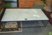 Sale 8383 - Lot 1352 - Marble Top Coffee Table on Metal Base