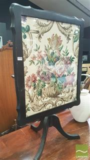 Sale 8390 - Lot 1552 - Firescreen / Table w Tapestry Decoration