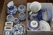 Sale 8432 - Lot 29 - Blue & White Ceramic Pumpkin Lidded Container With Other Wares incl Jugs