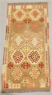 Sale 8438K - Lot 35 - Summer Afghan Tribal Kilim Rug | 206x101cm, Pure Wool, Finely handwoven in Northern Afghanistan using high quality local wool. Vibra...