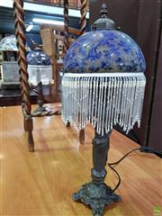 Sale 8580 - Lot 1066 - Pair of Glass Shade Table Lamps